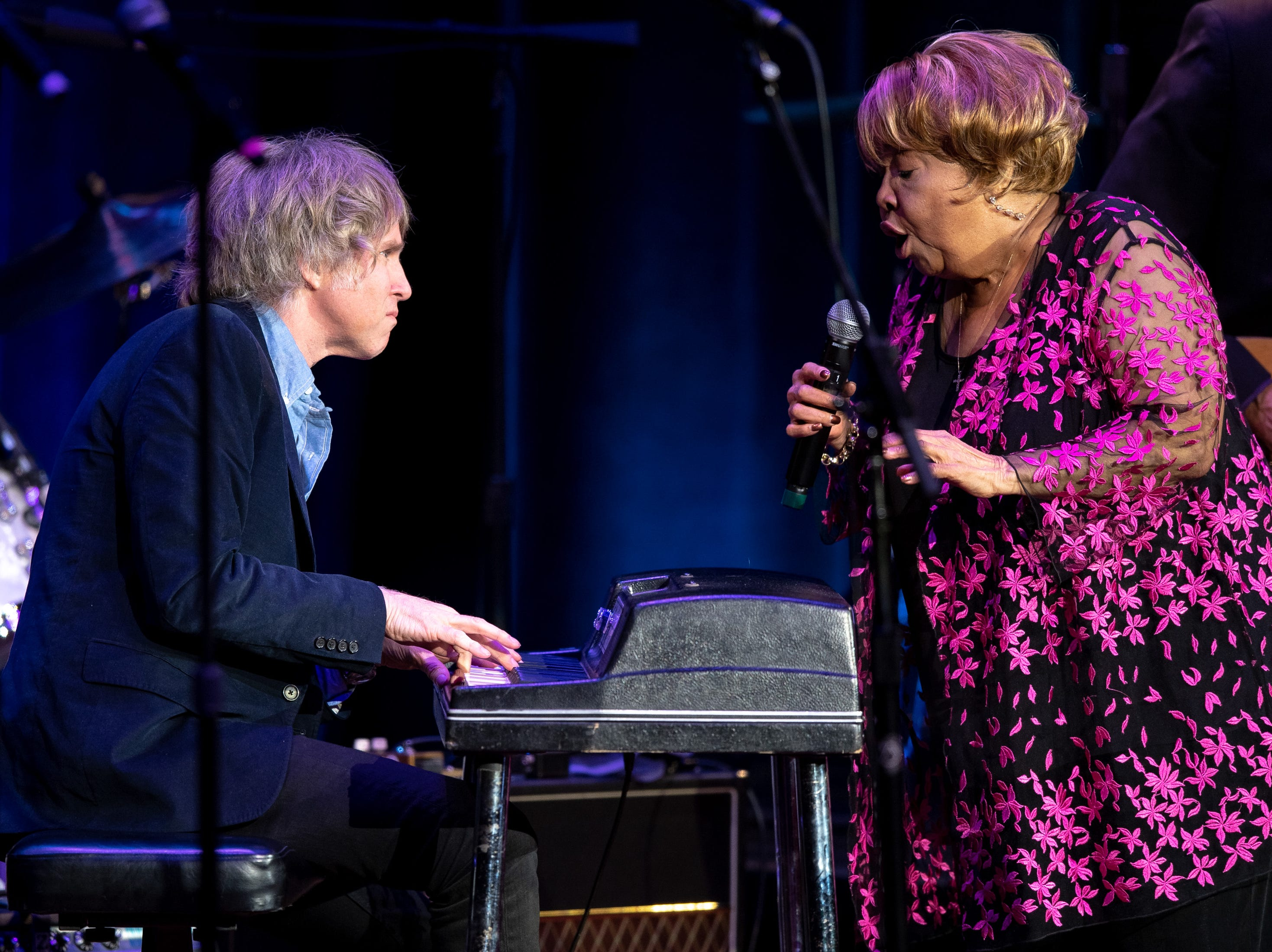 Mavis Staples performs with Pat Sansone during the Mavis and Friends concert at the Ryman Auditorium in Nashville, Tenn., Wednesday, May 15, 2019.