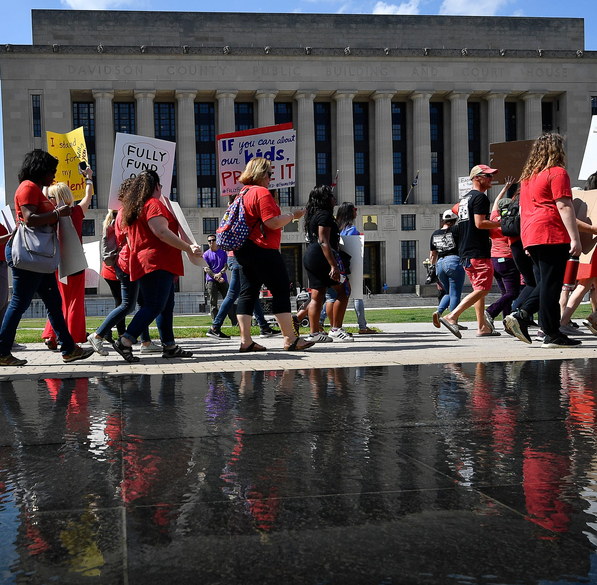 Nashville teachers, protesters at City Hall to demand higher pay