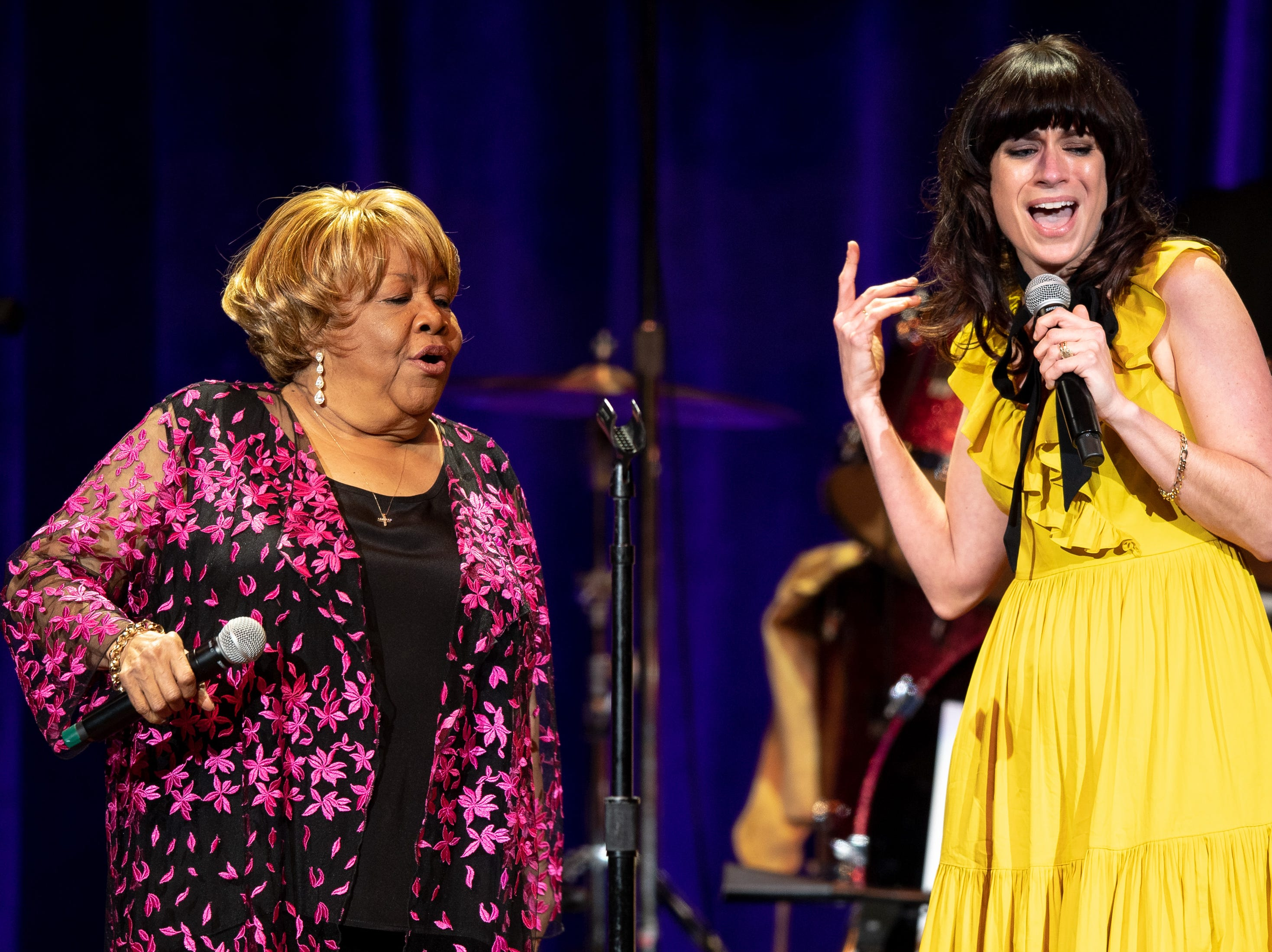 Mavis Staples performs with Nicole Atkins during the Mavis and Friends concert at the Ryman Auditorium in Nashville, Tenn., Wednesday, May 15, 2019.