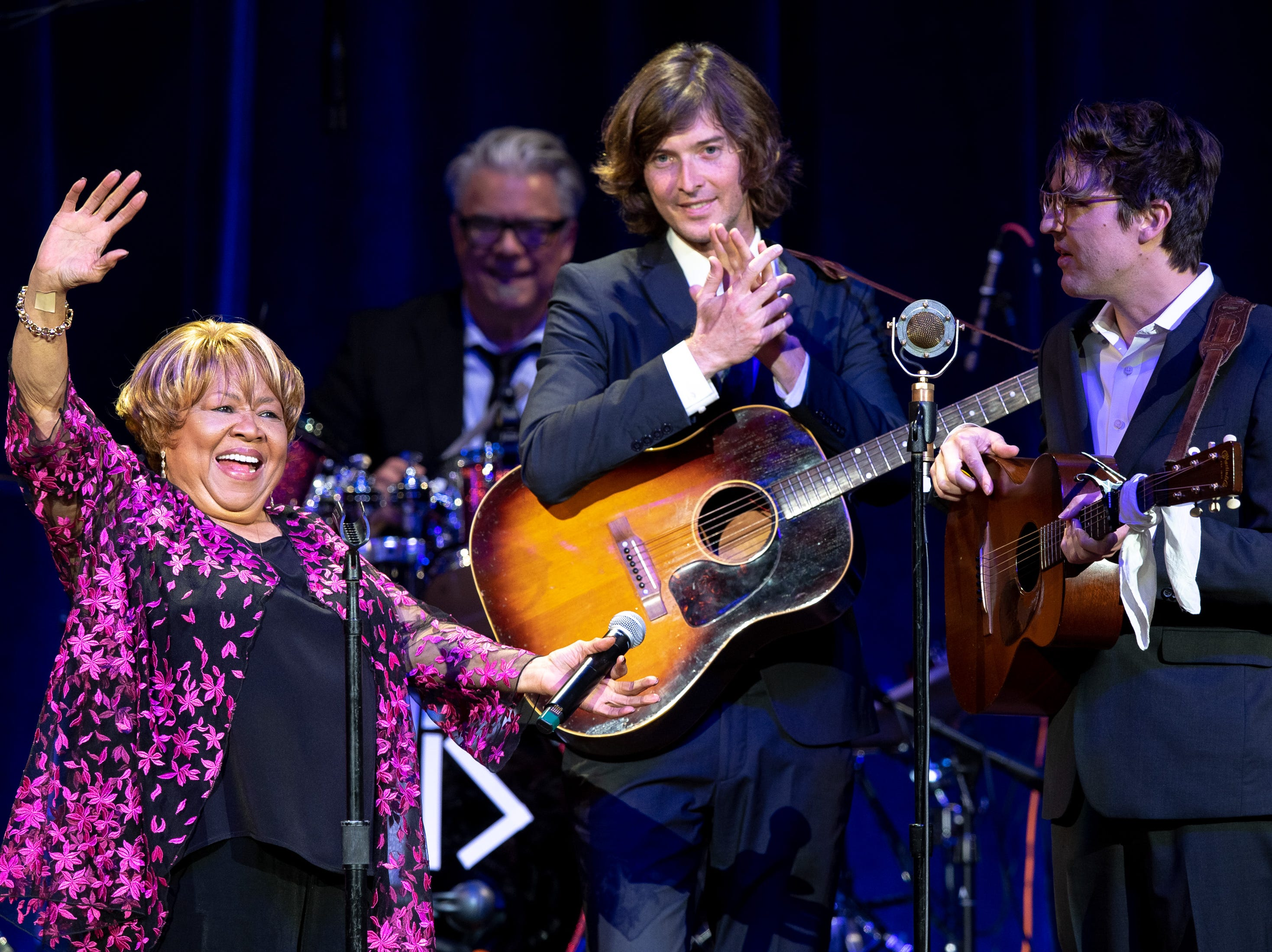 Mavis Staples performs with The Milk Carton Kids during the Mavis and Friends concert at the Ryman Auditorium in Nashville, Tenn., Wednesday, May 15, 2019.