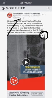 A screenshot of an ad paid for by CAS-PAC while it was active.
