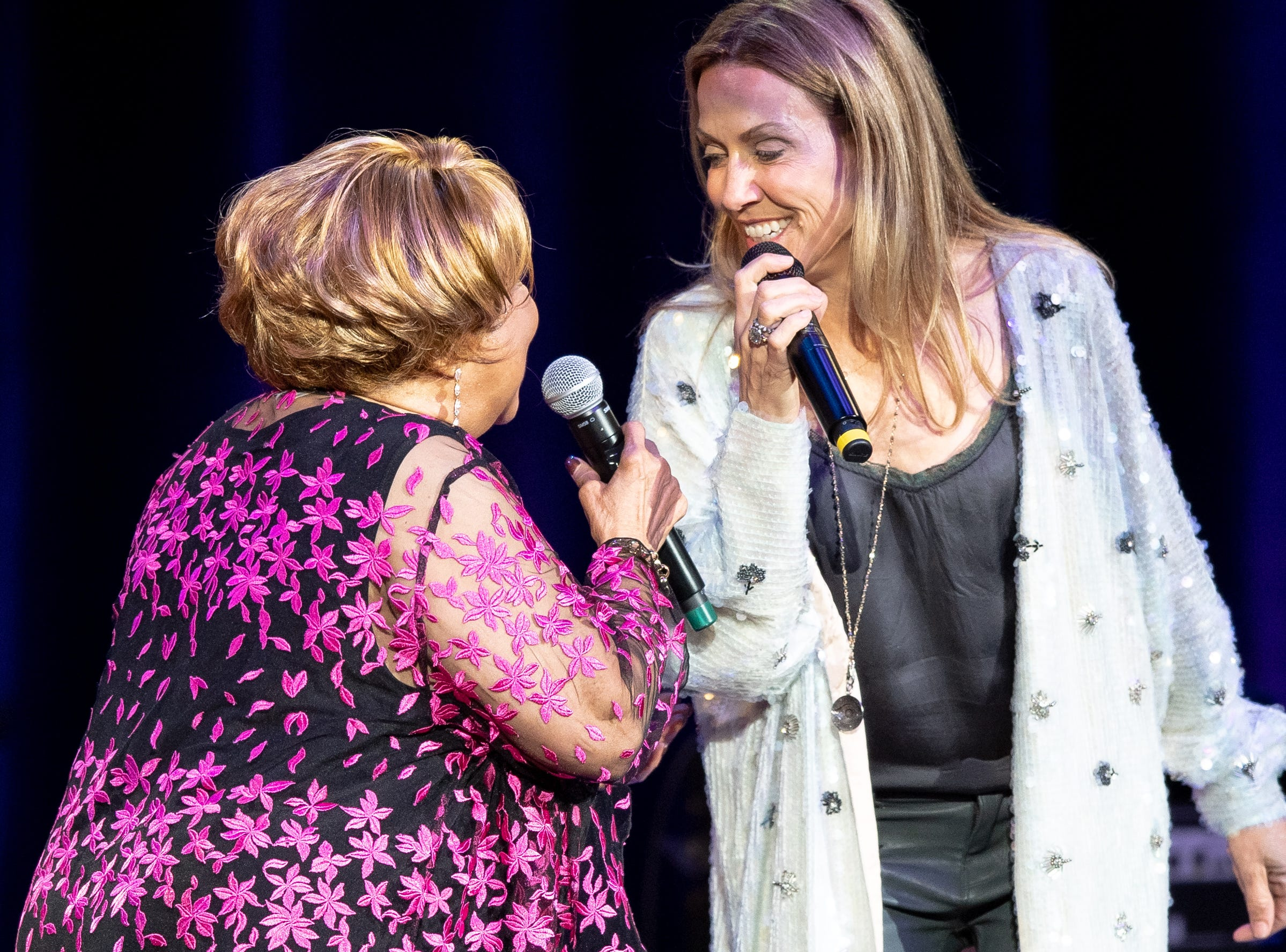 Mavis Staples performs with Sheryl Crow during the Mavis and Friends concert at the Ryman Auditorium in Nashville, Tenn., Wednesday, May 15, 2019.