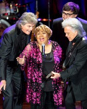 Mavis Staples performs with Marty Stuart and His Fabulous Superlatives during the Mavis and Friends concert at the Ryman Auditorium in Nashville, Tenn., Wednesday, May 15, 2019.