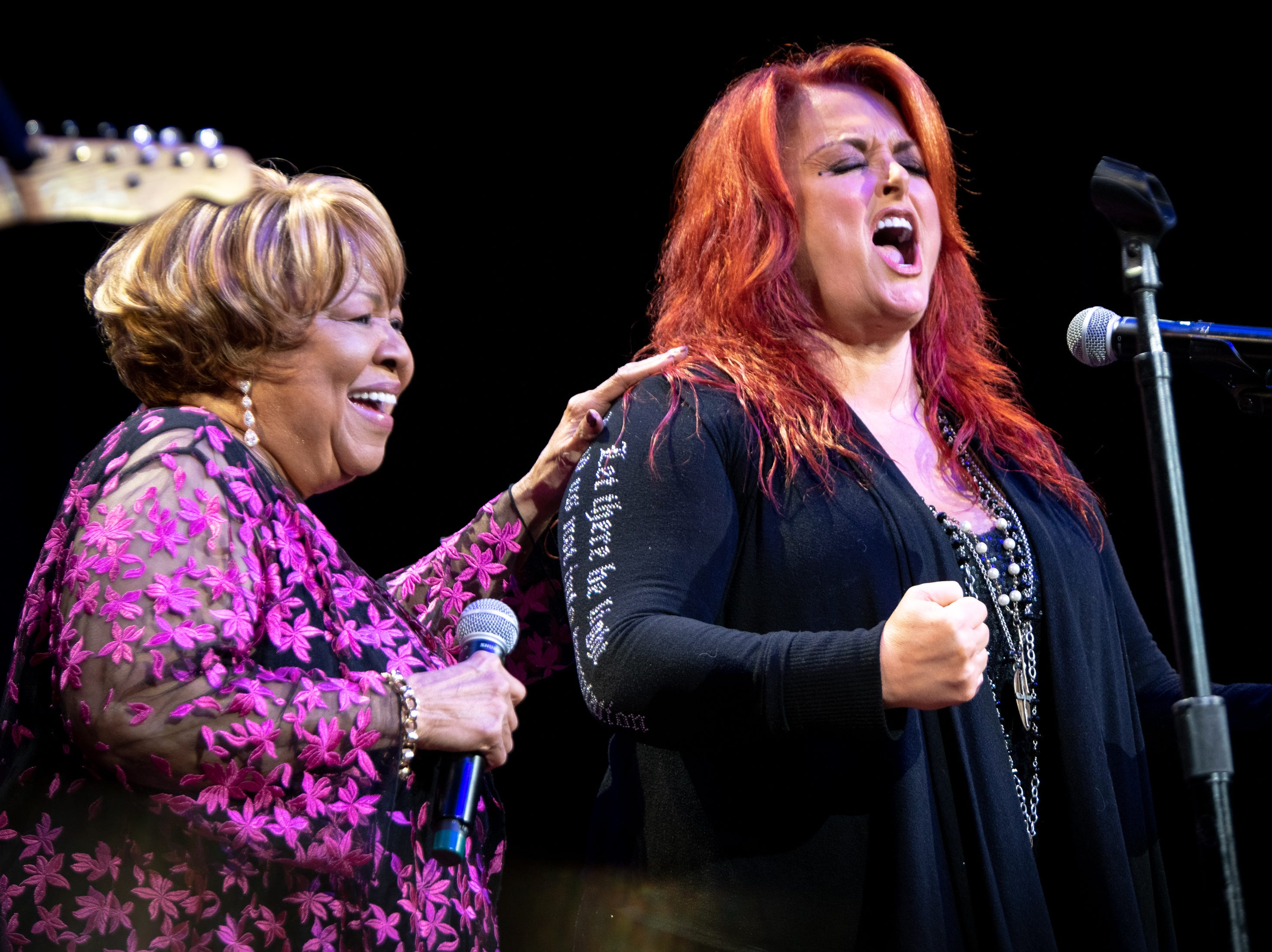 Mavis Staples performs with Wynonna Judd during the Mavis and Friends concert at the Ryman Auditorium in Nashville, Tenn., Wednesday, May 15, 2019.