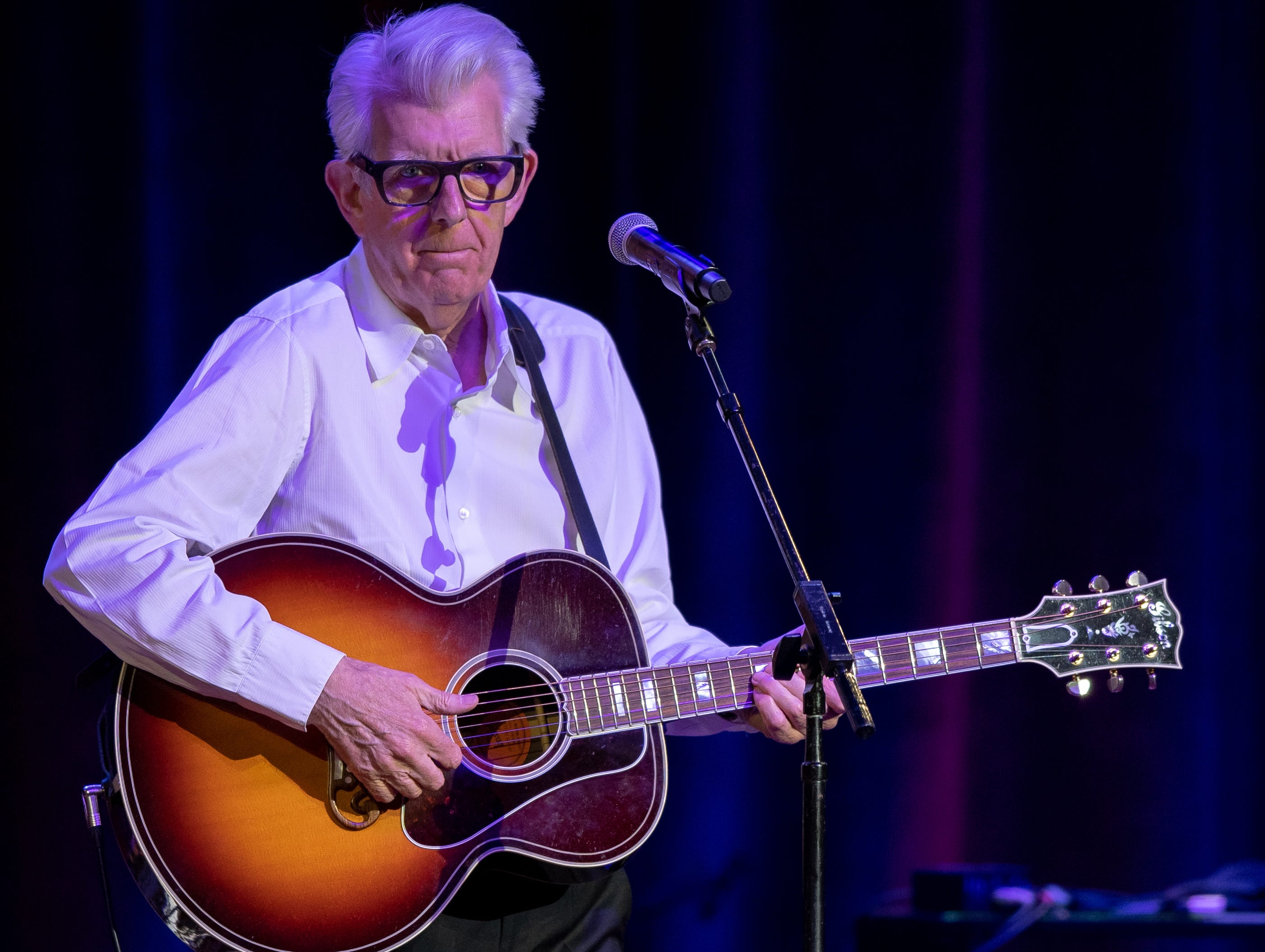 Nick Lowe performs with Mavis Staples during the Mavis and Friends concert at the Ryman Auditorium in Nashville, Tenn., Wednesday, May 15, 2019.