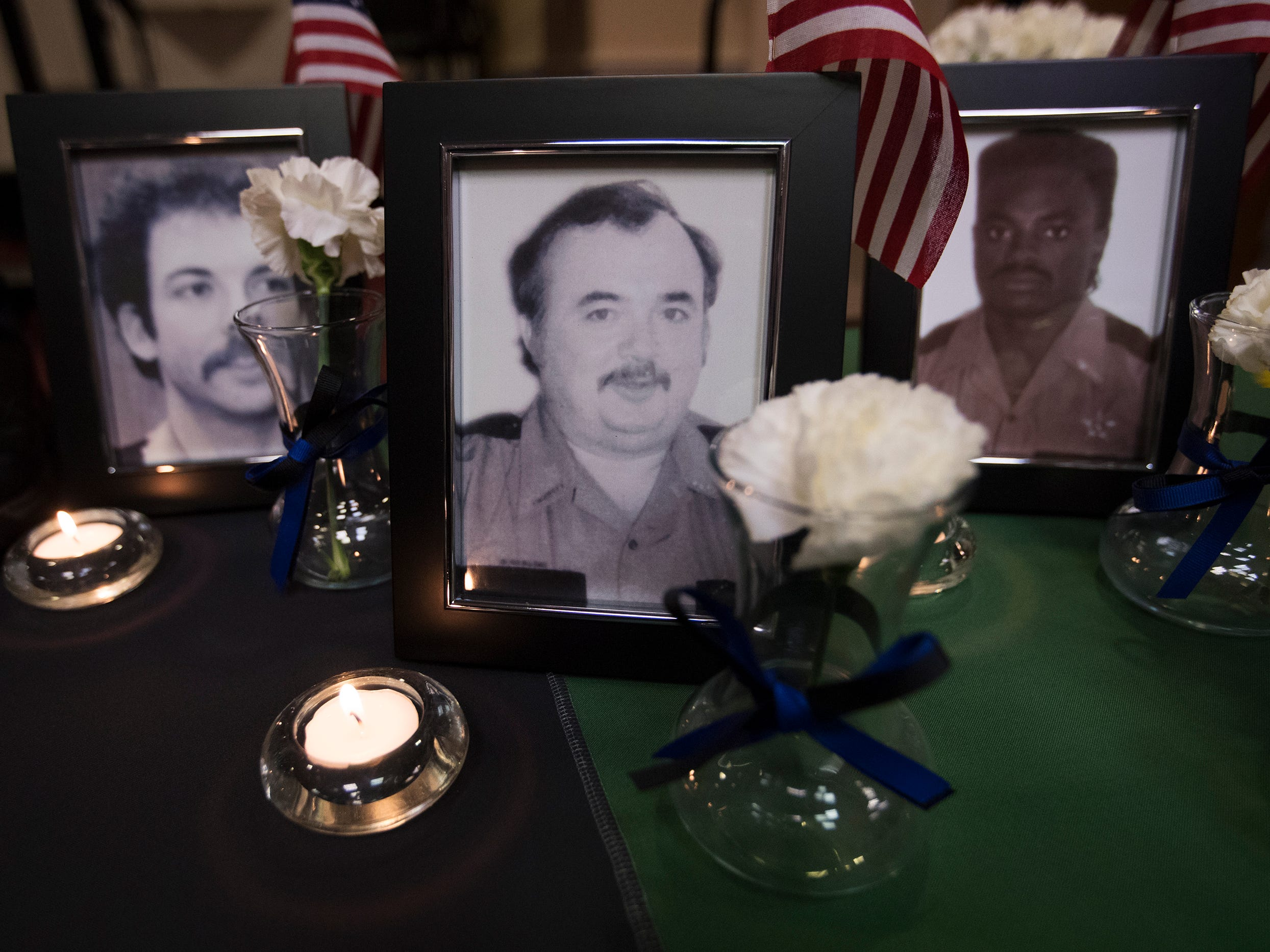 Corporal Mark Caperton, left, Sergeant Roy Arthur Williams, center, and Sergeant Joe Nathan Jones, were among the local law enforcement officers killed in the line of duty, that were honored at a memorial on Wednesday at East Naples United Methodist Church. Thirteen officers have been killed in Collier County since 1928.