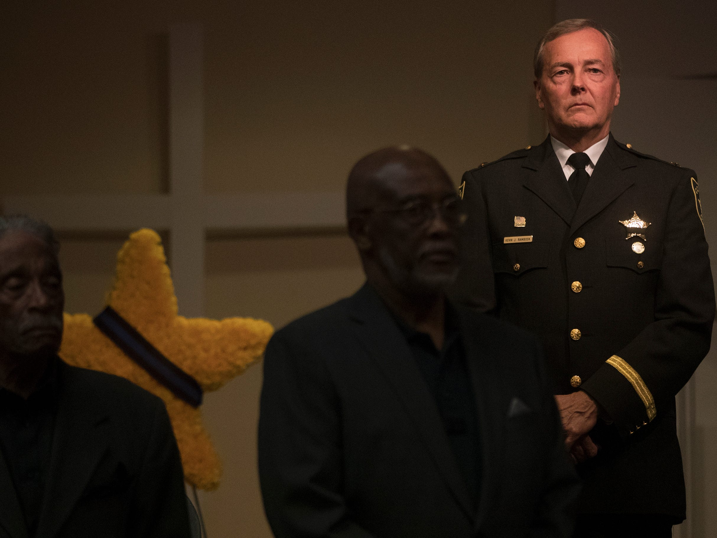 Collier County Sheriff Kevin Rambosk, right, was among those honoring local law enforcement officers killed in the line of duty at a memorial on Wednesday at East Naples United Methodist Church. Thirteen officers have been killed in Collier County since 1928.