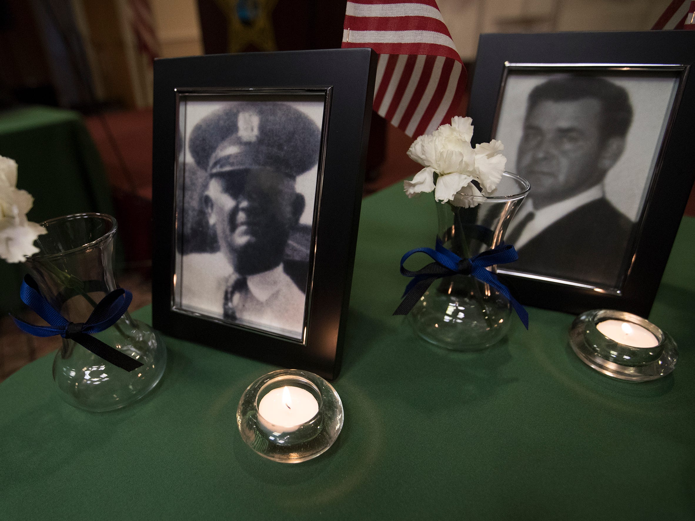 Deputy William E. Hutto, left, and Deputy Maurice Eugene Anglin, were among the local law enforcement officers killed in the line of duty, that were honored at a memorial on Wednesday at East Naples United Methodist Church. Thirteen officers have been killed in Collier County since 1928.