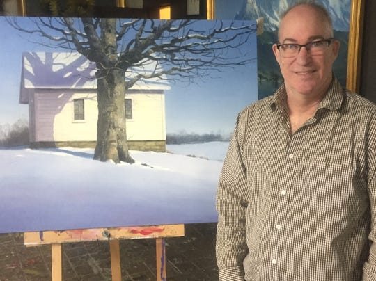 Paul Hamilton and one of his new paintings that will be exhibited in a Columbus gallery show opening in June.