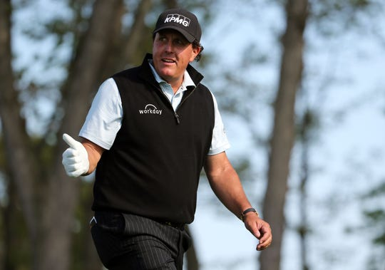 May 16, 2019; Bethpage, NY, USA; Phil Mickelson gives a thumbs up on the 12th tee during the first round of the PGA Championship golf tournament at Bethpage State Park - Black Course. Mandatory Credit: Peter Casey-USA TODAY Sports