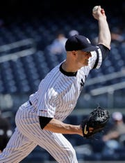 New York Yankees' J.A. Happ delivers a pitch during the first inning of a baseball game against the Baltimore Orioles Wednesday, May 15, 2019, in New York.