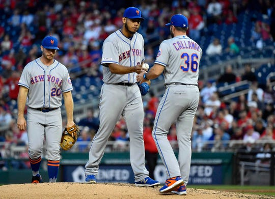 May 15, 2019; Washington, DC, USA; New York Mets relief pitcher Wilmer Font (68) is removed from the game by manager Mickey Callaway (36) during the third inning against the Washington Nationals at Nationals Park.