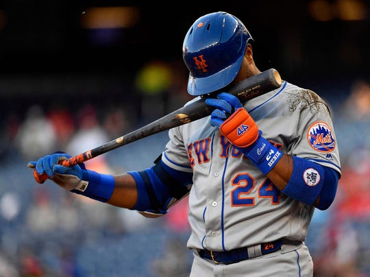 May 15, 2019; Washington, DC, USA; New York Mets second baseman Robinson Cano (24) at bat against the Washington Nationals during the first inning at Nationals Park.
