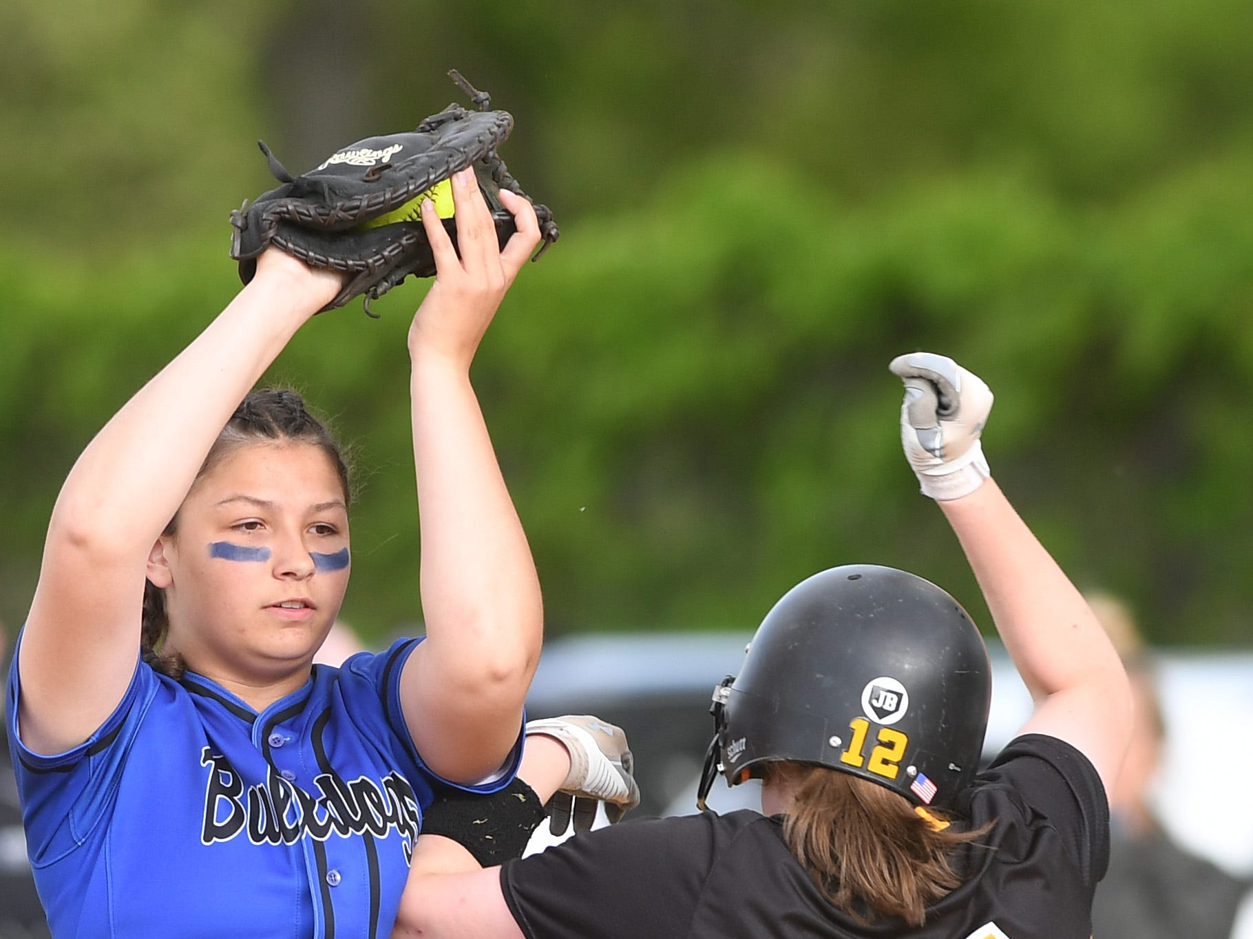 Passaic County Technical Institute vs. West Milford in the Passaic County Tournament softball final at Wayne Hills High School on Wednesday, May 15, 2019. PCTI #3 Kayla Nelson makes a catch to get WM #12 Jenna Moran out.