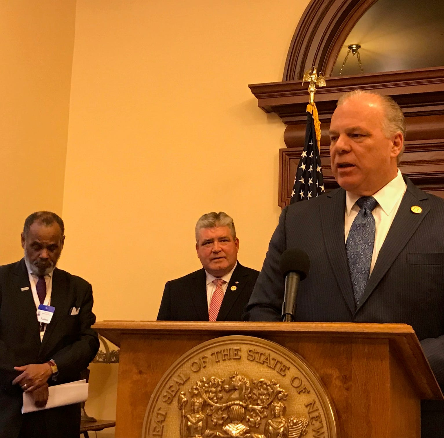 """Senate President Steve Sweeney, D-Gloucester, unveils a 27-bill package to reform New Jersey's pension and healthcare plans based off of his """"Path to Progress"""" report."""