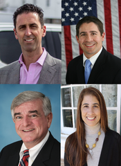 Clockwise, from top left, candidates for Wayne Township Council: Republican Louis Avolio, 2nd Ward; Republican Councilman Al Sadowski, 2nd Ward; Democrat Francine Ritter, 5th Ward; and Democrat James Freeswick, 5th Ward.