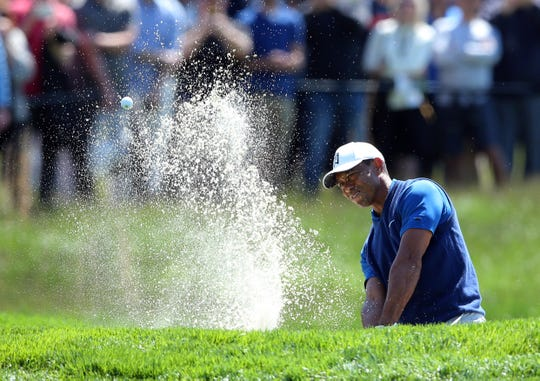 May 16, 2019; Bethpage, NY, USA; Tiger Woods on the 17th hole during the first round of the PGA Championship golf tournament at Bethpage State Park - Black Course.
