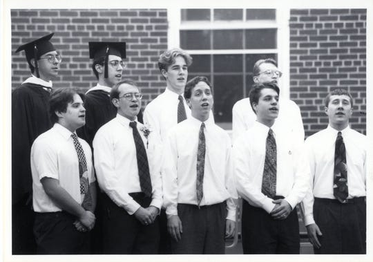 James Van der Beek, third from left on the top row, sang in the a cappella group at Drew University in 1996.