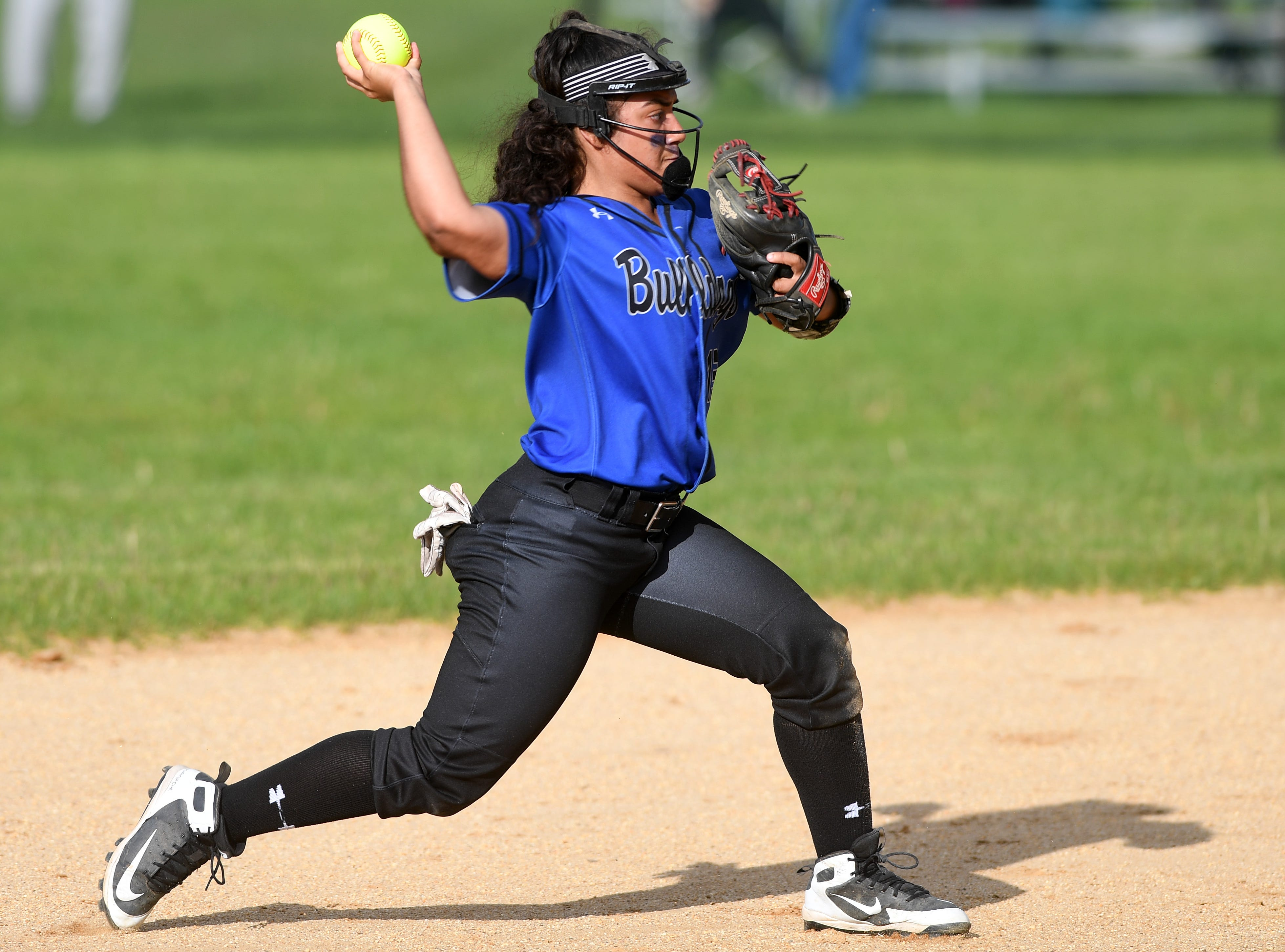 Passaic County Technical Institute vs. West Milford in the Passaic County Tournament softball final at Wayne Hills High School on Wednesday, May 15, 2019. PCTI #13 Daniela Vidal throws to first to get the out.