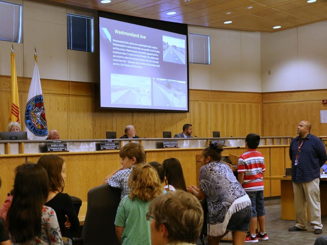 Seventeen third-grade students from Doña Ana Elementary School lined up at the podium Tuesday, May 14, 2019, to address the Doña Ana Board of County Commissioners.