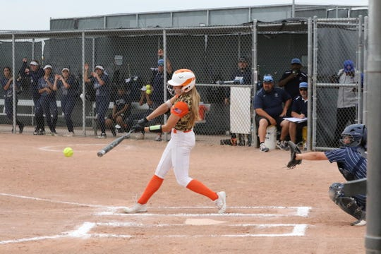 Artesia's Presley Skinner connects with a pitch in the first inning of Thursday's second game against Silver. Skinner had the game-winning RBI in the bottom of the seventh inning.