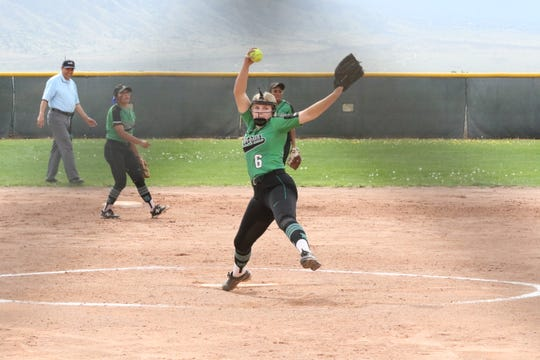 Makayla Donald pitches for the Lady Scorpions during Thursday's game against Hobbs.