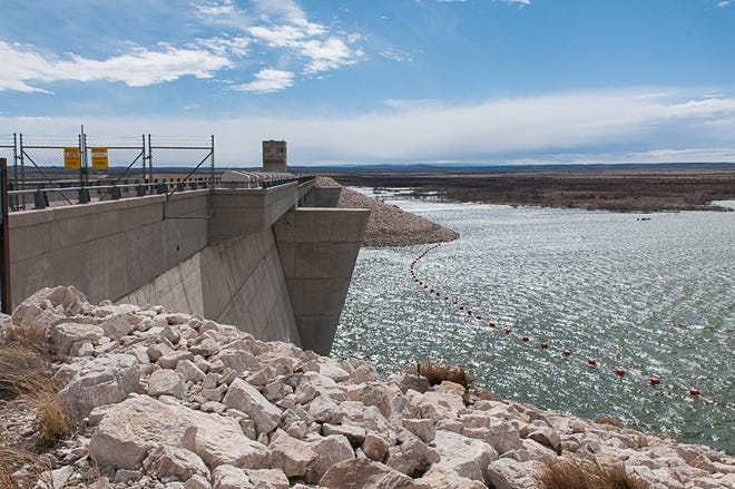 A view from the top of the dam on Brantley Lake which serves as a reservoir of water for the Carlsbad Irrigation District.