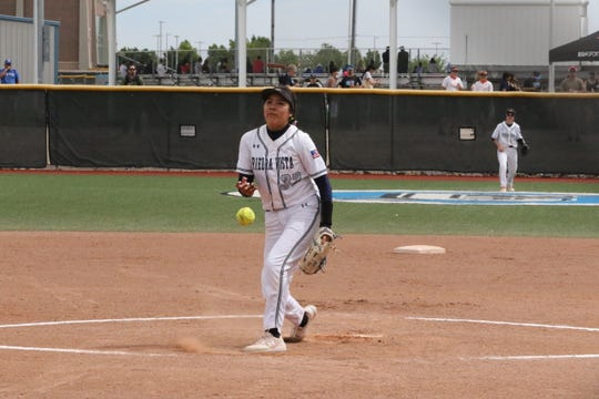 Piedra Vista's Lanae Billy pitches in Thursday's morning's game against Rio Rancho.