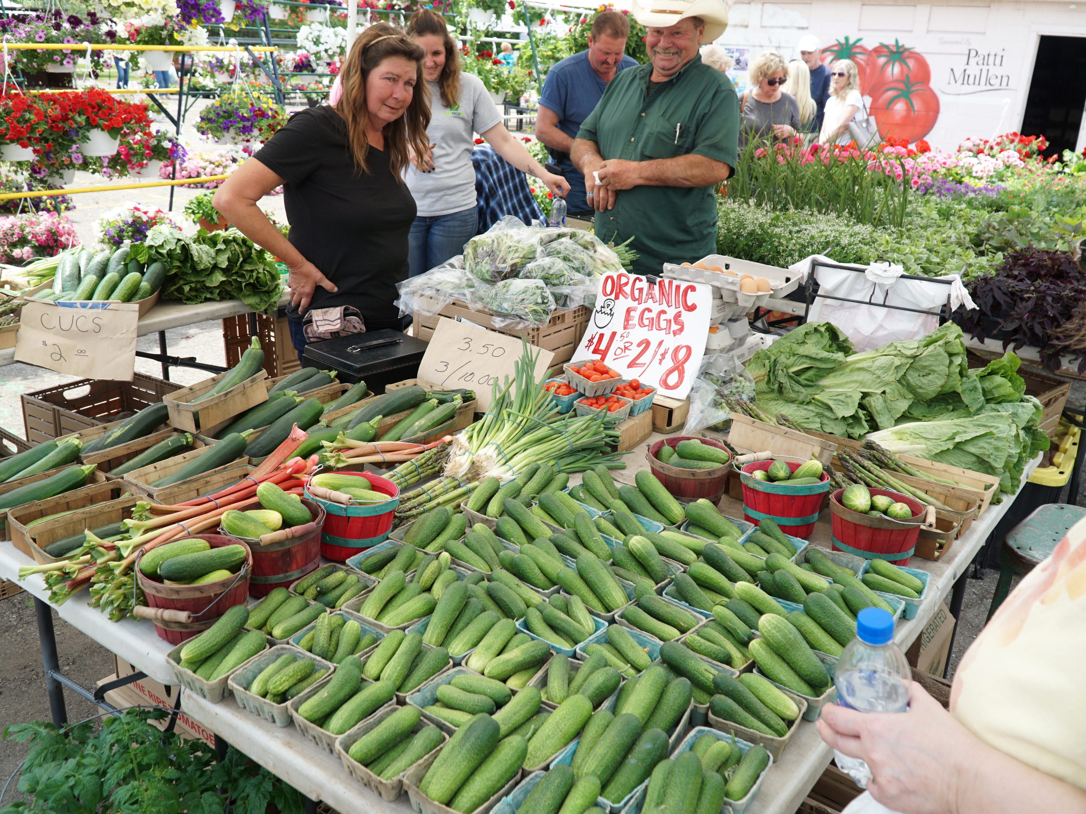 One vendor at the May 16 market was already selling some greenhouse-grown vegetables including zucchini, cucumbers, rhubarb and green onions.