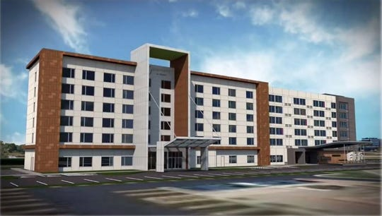 A screenshot from the May 14 planningg commission meeting showed a rendering of what the proposed hotel building would look like.