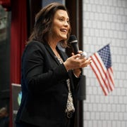 Michigan Governor Gretchen Whitmer speaks at Canton High on May 16, 2019.