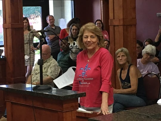 Nancy Marcantel speaks at the St. Landry Parish Council meeting as the council discusses a parish animal shelter director whose fundraising methods are under investigation. Marcantel, who founded the Animal Rescue Foundation of Louisiana, said McNight has put the parish shelter on the international map through the use of social media.