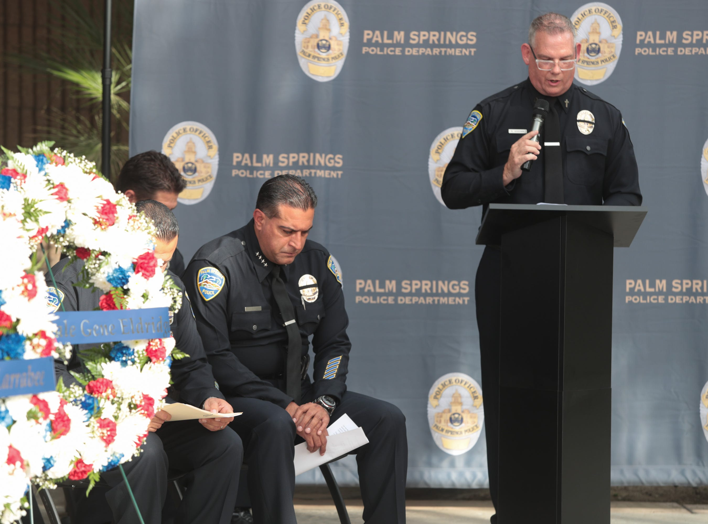Opening remarks are made by Chaplain Rob Goodwin during a ceremony honoring fallen officers on Peace Officers Memorial Day, Palm Springs, Calif., May 15, 2019.