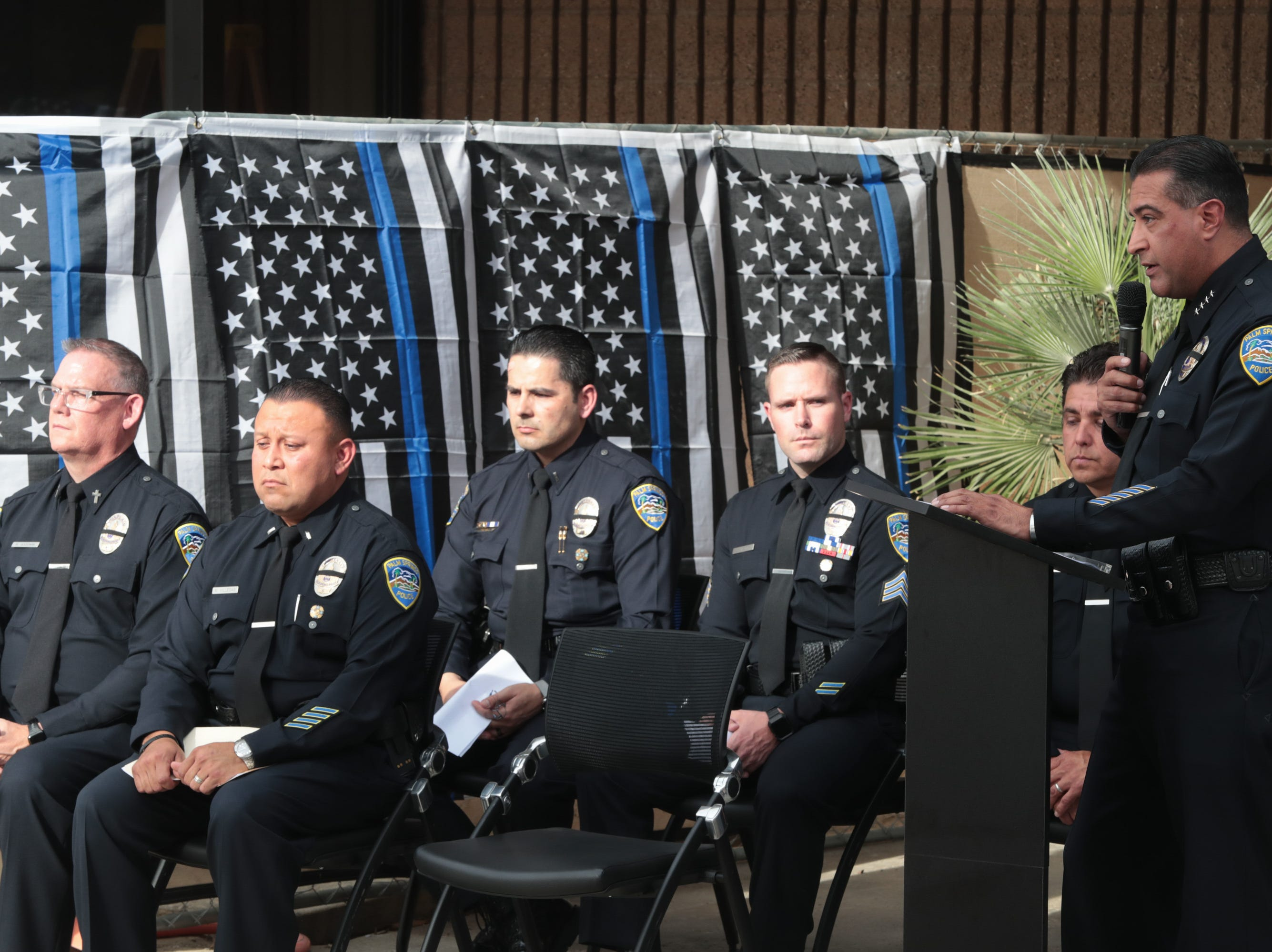 Police Chief Bryan Reyes makes closing remarks in a ceremony honoring fallen Palm Springs police officers on Peace Officers Memorial Day, Palm Springs, Calif., May 15, 2019.