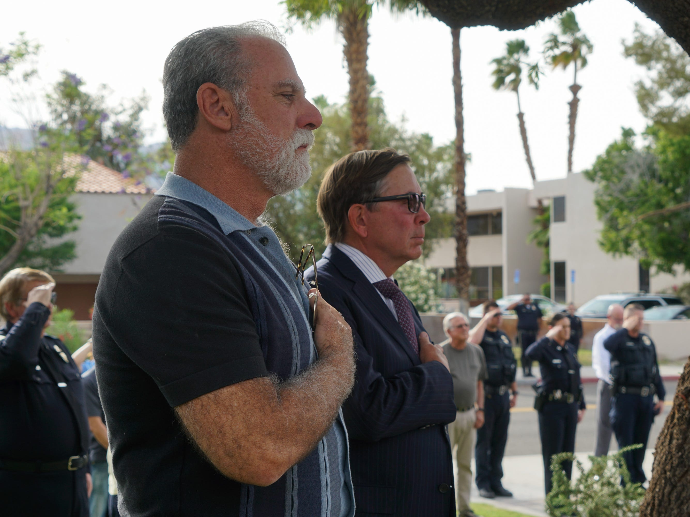 City Councilmember J.R. Roberts and Mayor Robert Moon attend a ceremony honoring fallen Palm Springs police officers on Peace Officers Memorial Day, Palm Springs, Calif., May 15, 2019.