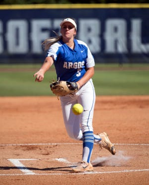 University of West Florida's Kelsey Sweatt delivers the pitch to open the 2019 NCAA Division II Softball South Super Regional against Florida Tech on Thursday, May 16, 2019.