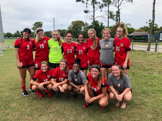 The 00/01 Gulf Coast Texans pose after winning in the FYSA State Cup Round of 16. The club's oldest team is ranked No. 5 in its age group and will compete in the final four.