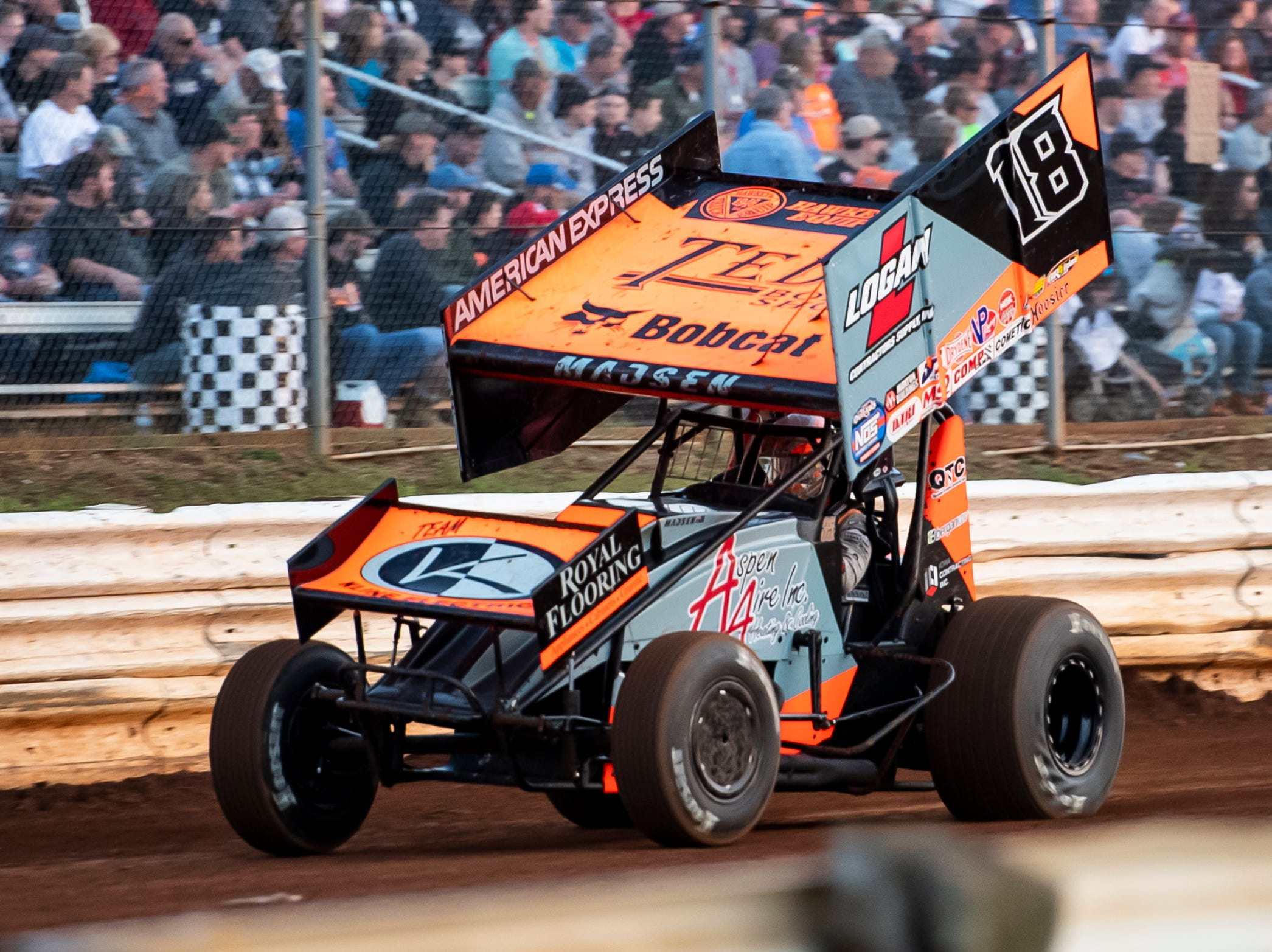 Ian Madsen races in the number 18 car during the World of Outlaws Gettysburg Clash at Lincoln Speedway in Abbottstown on Wednesday, May 15, 2019.
