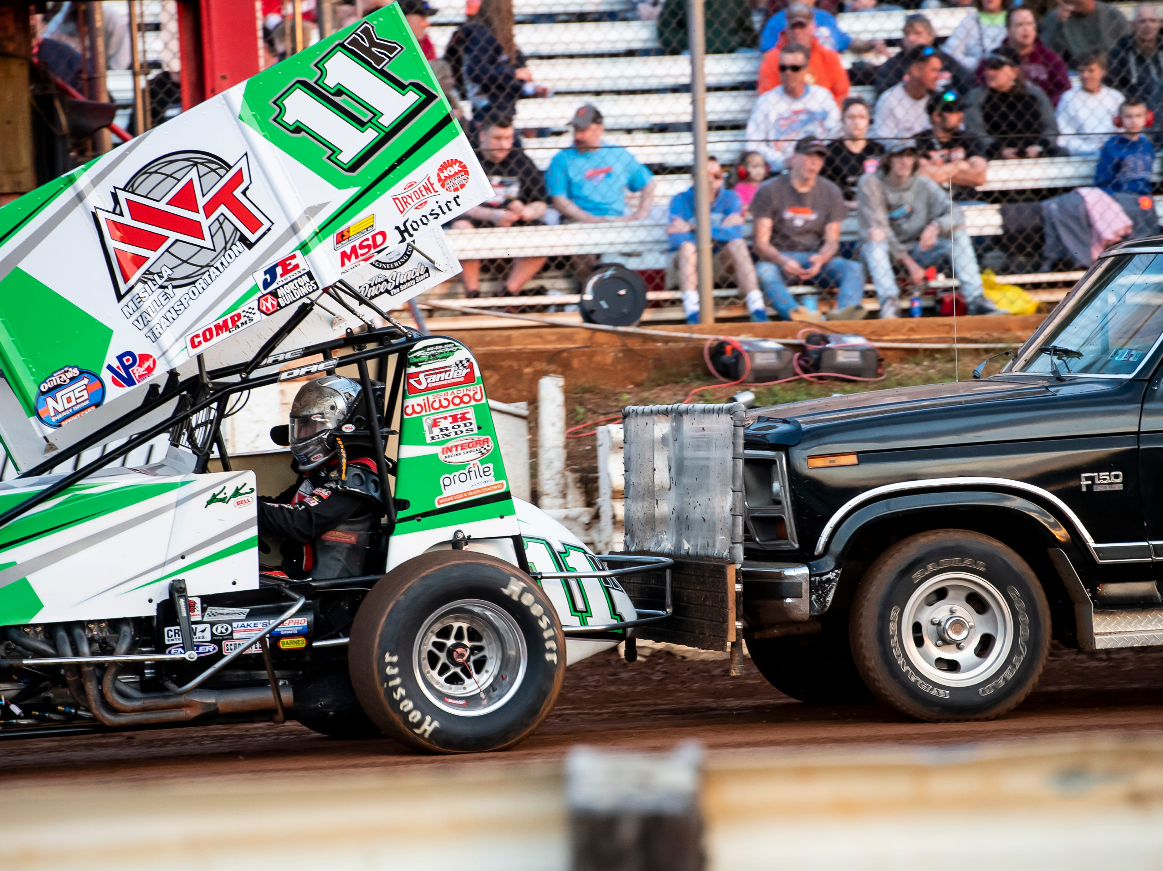 Kraig Kinster and the number 11K car get on the track for a qualifying heat during the World of Outlaws Gettysburg Clash at Lincoln Speedway in Abbottstown on Wednesday, May 15, 2019.