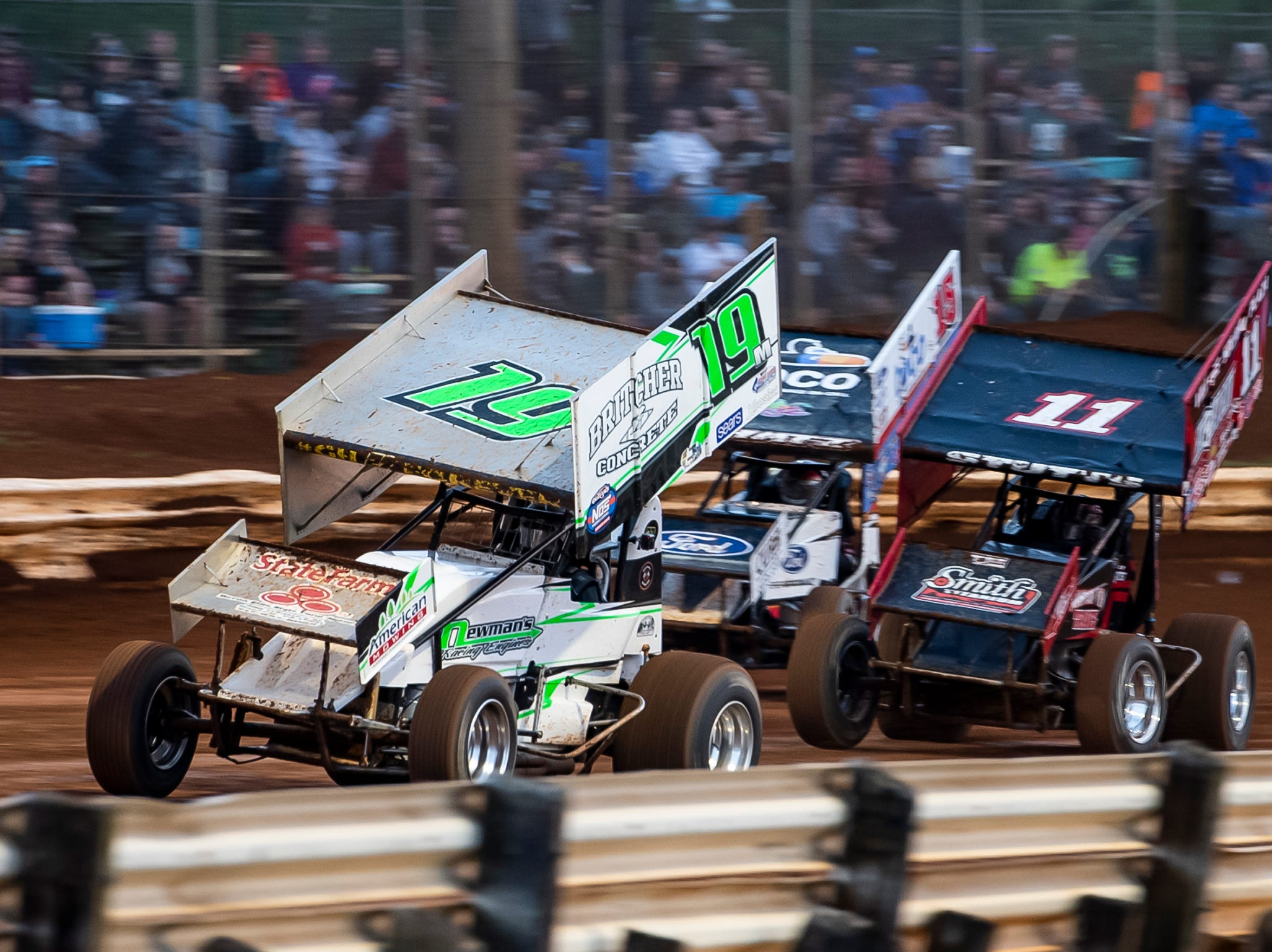 Cars navigate a turn during the World of Outlaws Gettysburg Clash at Lincoln Speedway in Abbottstown on Wednesday, May 15, 2019.