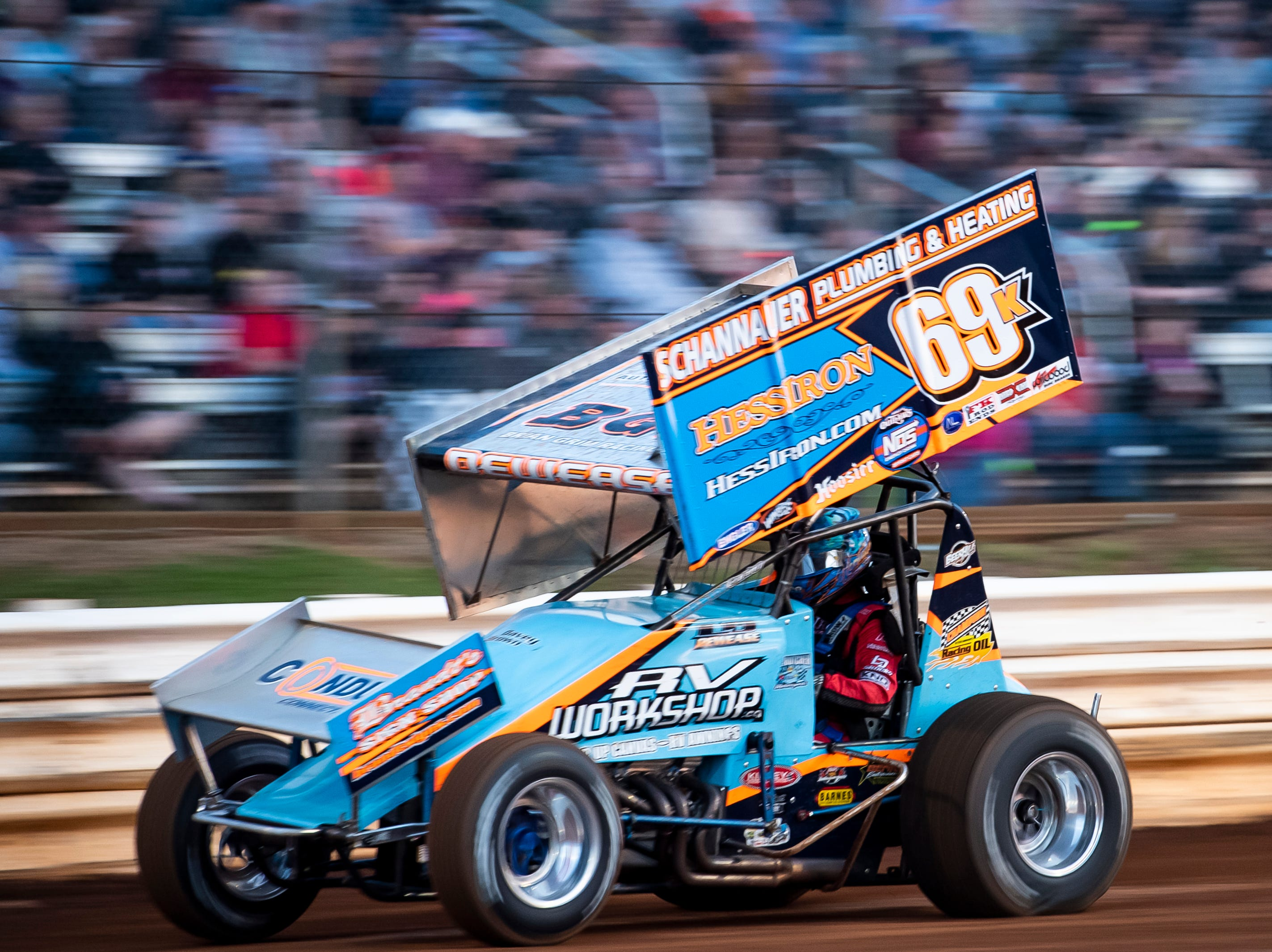 Lance Dewease races in the number 69K car during the World of Outlaws Gettysburg Clash at Lincoln Speedway in Abbottstown on Wednesday, May 15, 2019.