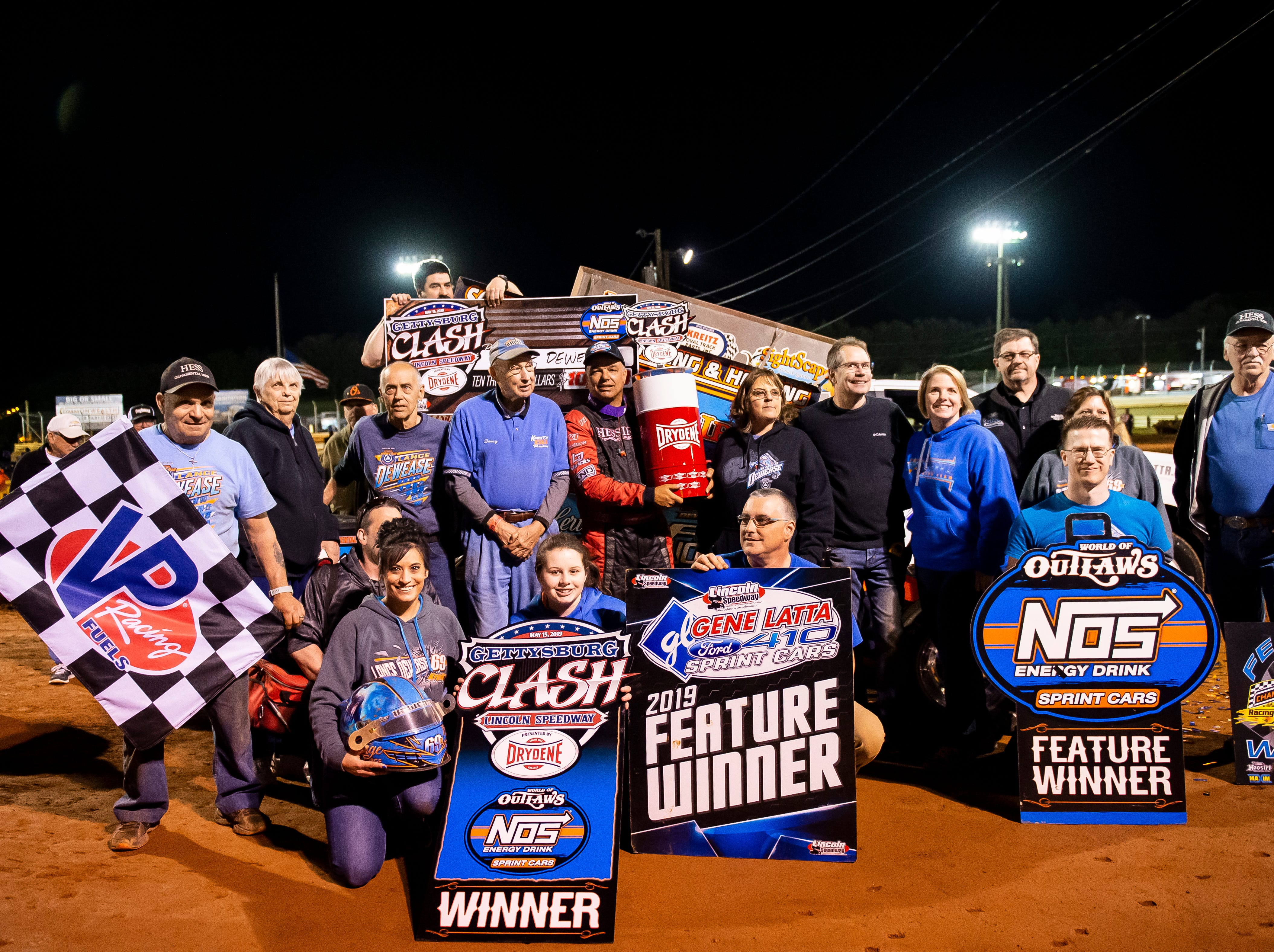 Lance Dewease, center, and team Dewease celebrates after winning the feature race race in the World of Outlaws Gettysburg Clash at Lincoln Speedway in Abbottstown on Wednesday, May 15, 2019.