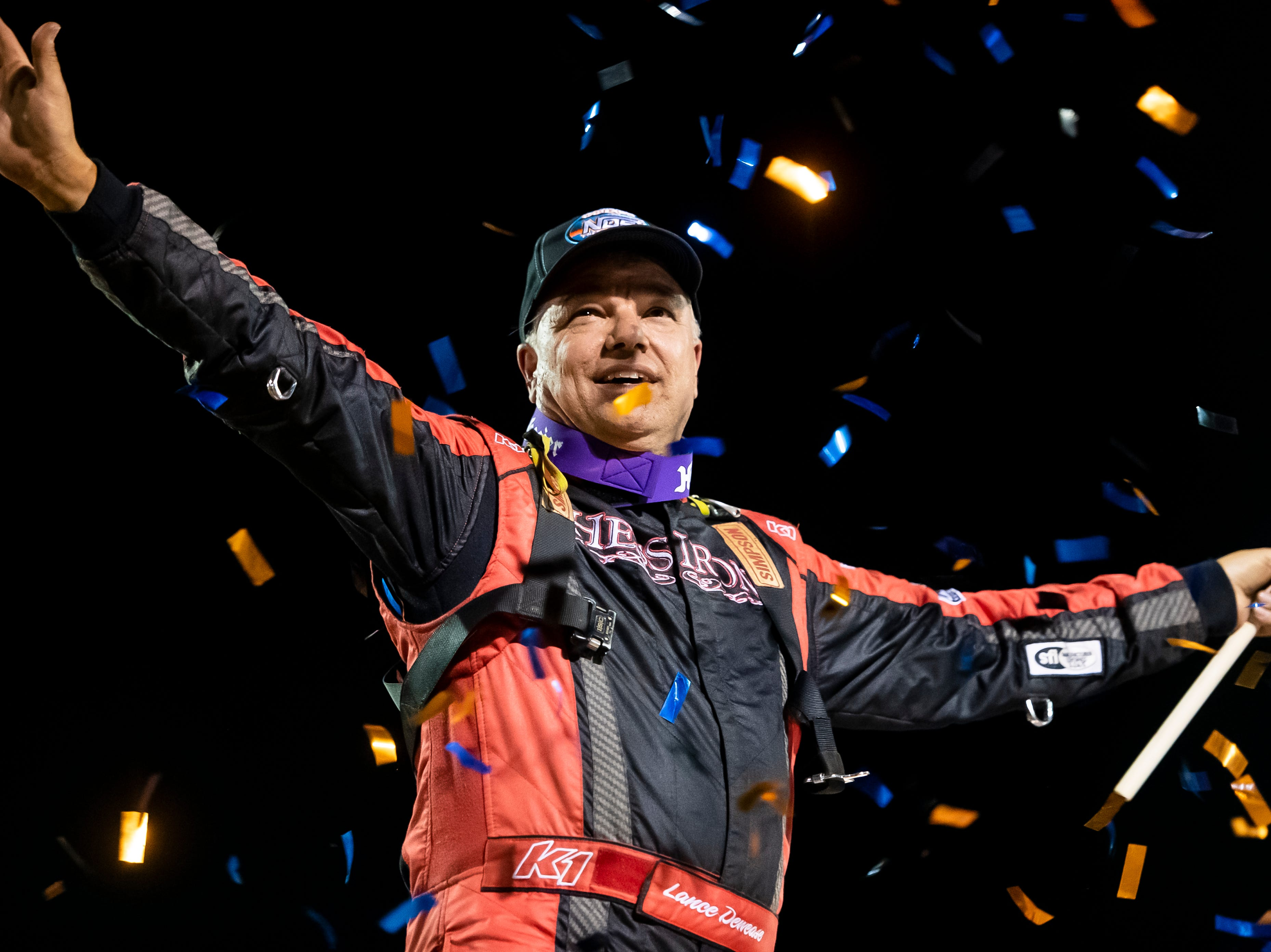 Lance Dewease celebrates after winning the feature race race in the World of Outlaws Gettysburg Clash at Lincoln Speedway in Abbottstown on Wednesday, May 15, 2019.