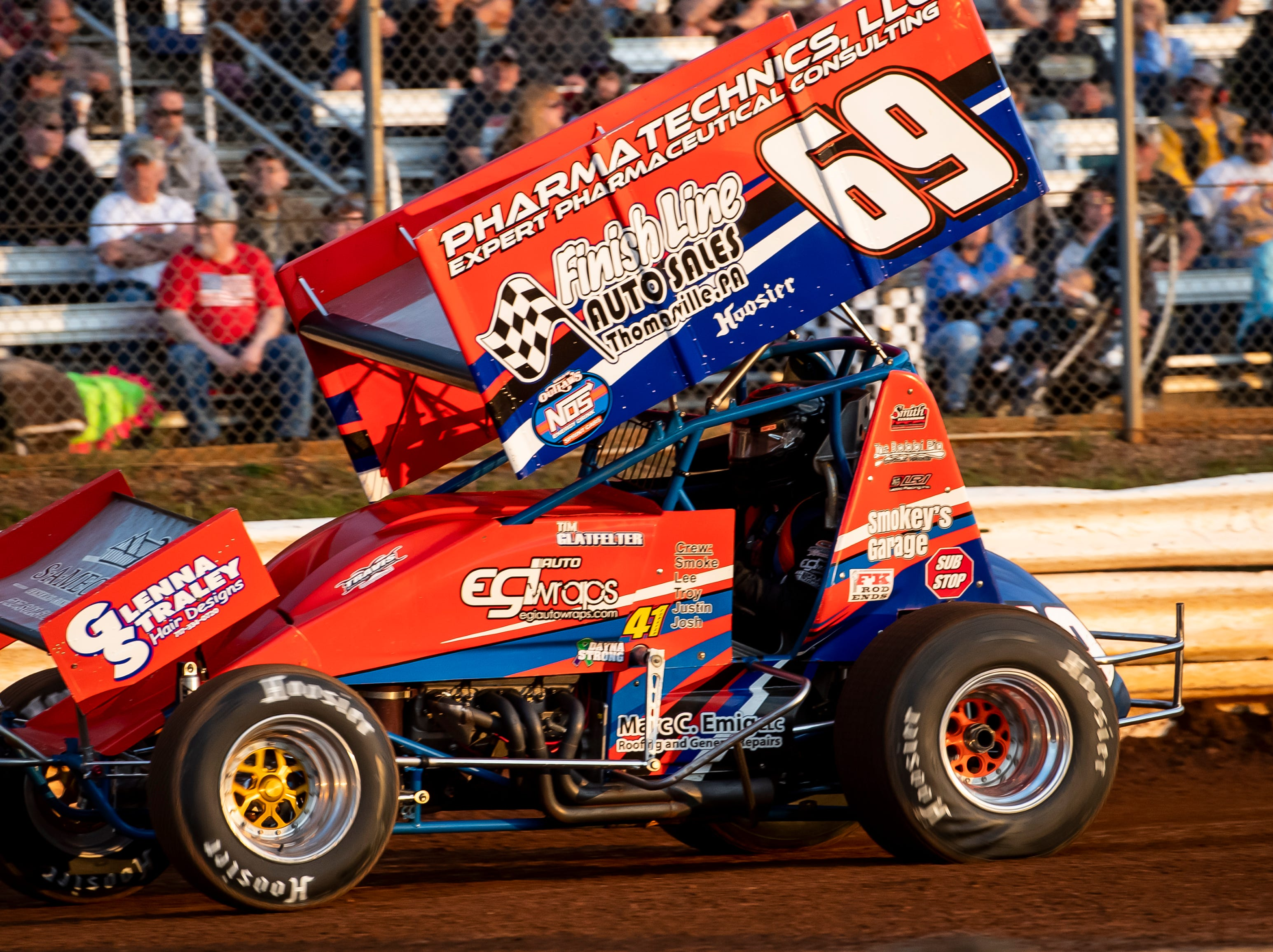 Tim Glatfelter drives the number 69 car during time trials in the World of Outlaws Gettysburg Clash at Lincoln Speedway in Abbottstown on Wednesday, May 15, 2019.