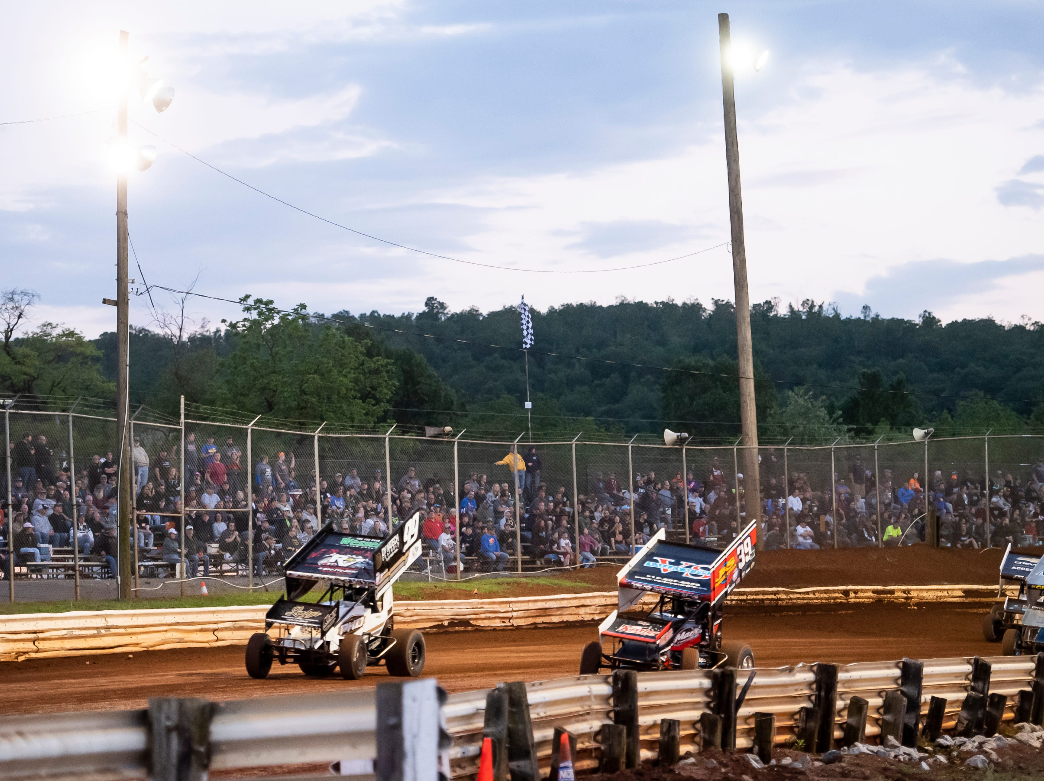Cars navigate turn number four during the World of Outlaws Gettysburg Clash at Lincoln Speedway in Abbottstown on Wednesday, May 15, 2019.
