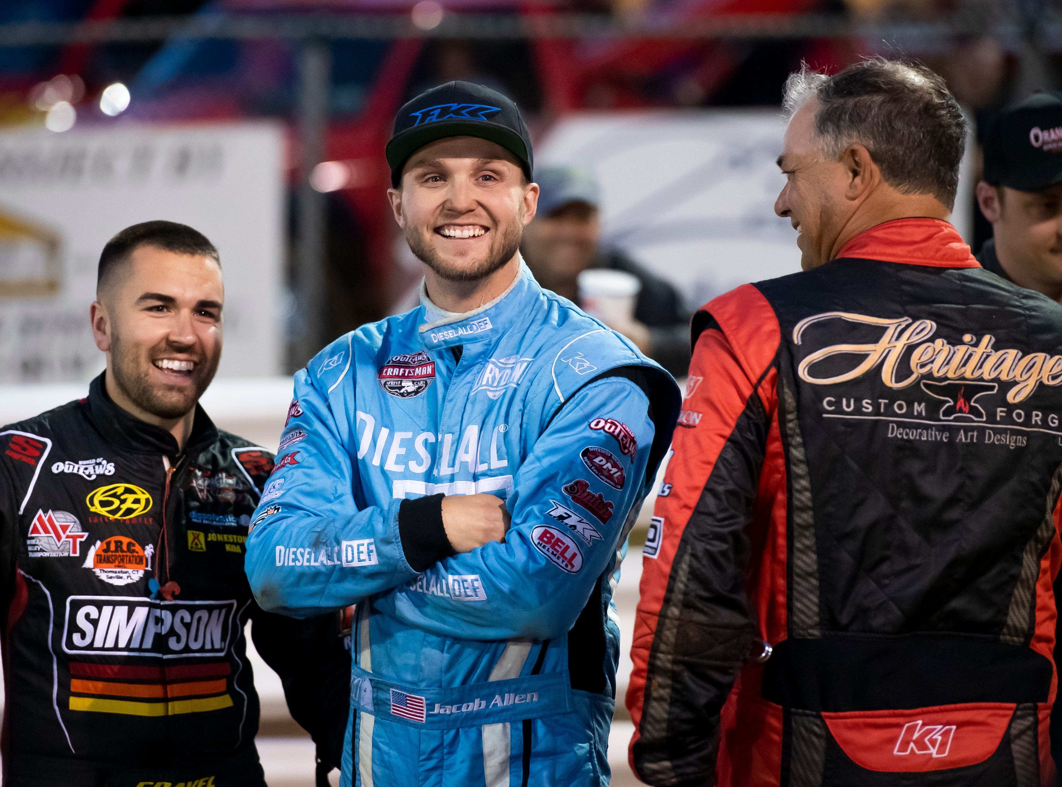 David Gravel, left, and Jacob Allen laugh along with Lance Dewease (right) after Dewease pulled the pole position for the fast pass dash during the World of Outlaws Gettysburg Clash at Lincoln Speedway in Abbottstown on Wednesday, May 15, 2019.