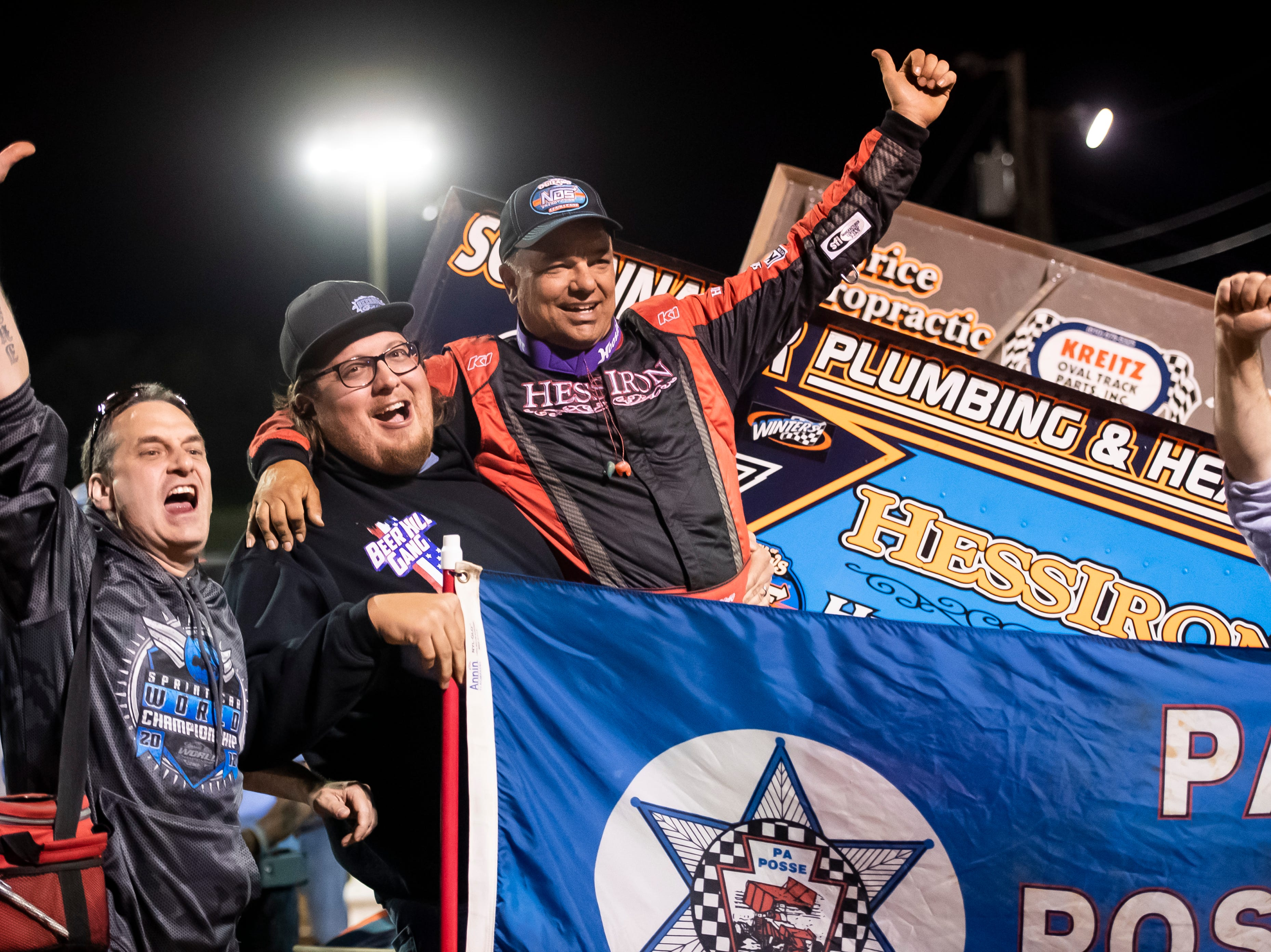 Lance Dewease celebrates with PA Posse fans after winning the feature race race in the World of Outlaws Gettysburg Clash at Lincoln Speedway in Abbottstown on Wednesday, May 15, 2019.