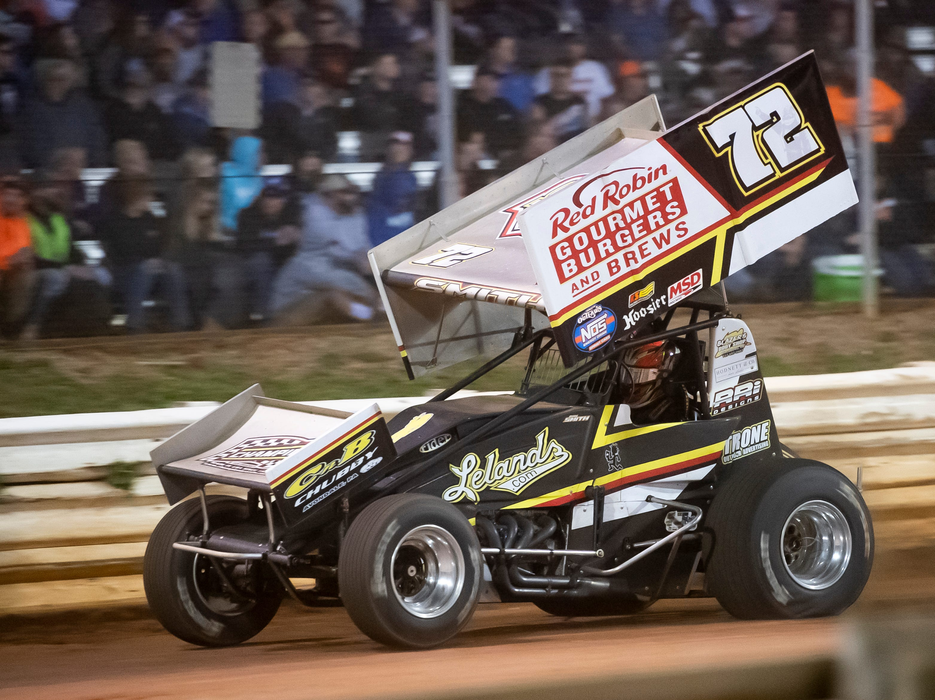 Ryan Smith races in the number 72 car during the World of Outlaws Gettysburg Clash at Lincoln Speedway in Abbottstown on Wednesday, May 15, 2019.