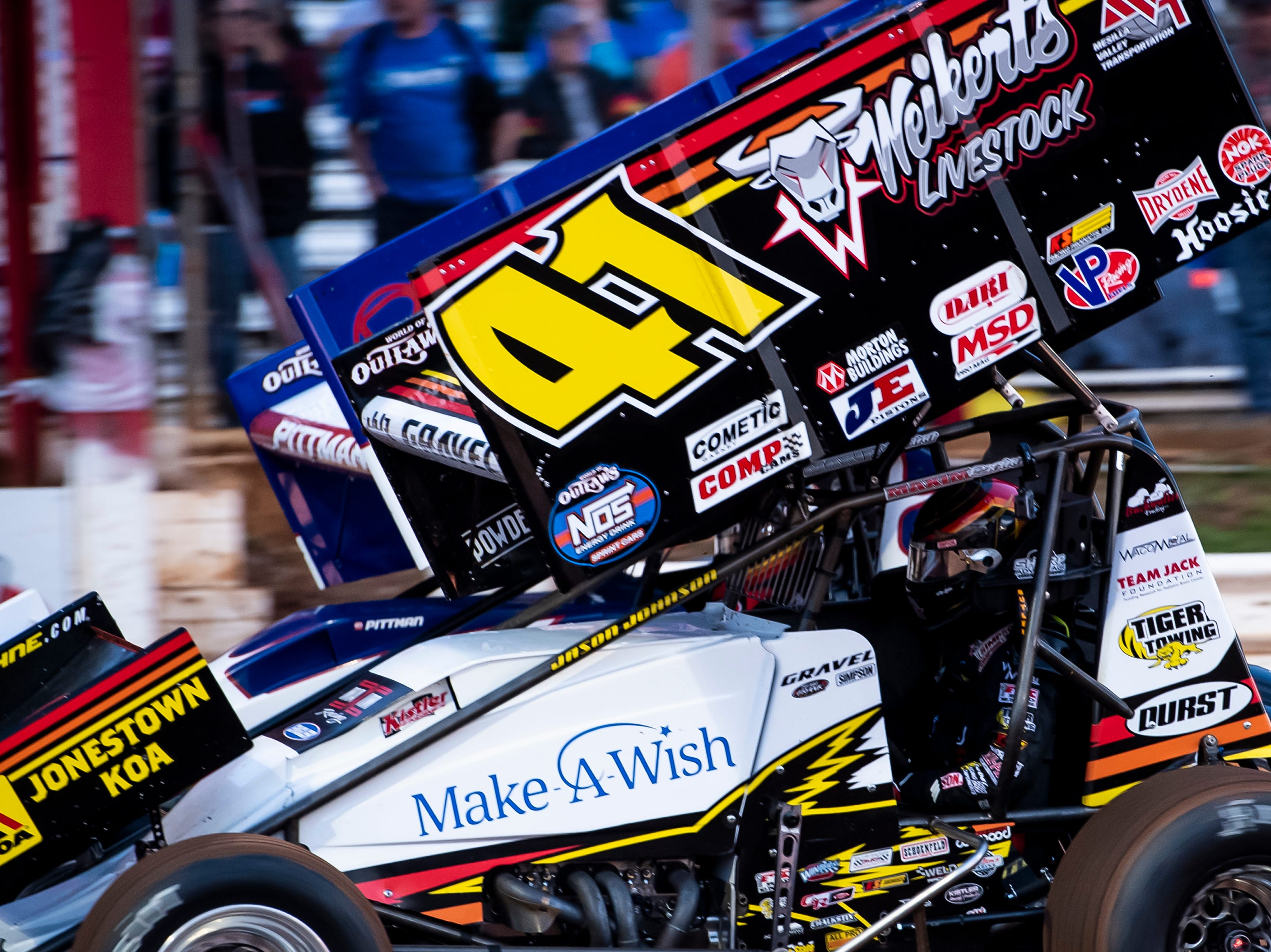 David Gravel races in the number 41 car during the World of Outlaws Gettysburg Clash at Lincoln Speedway in Abbottstown on Wednesday, May 15, 2019.