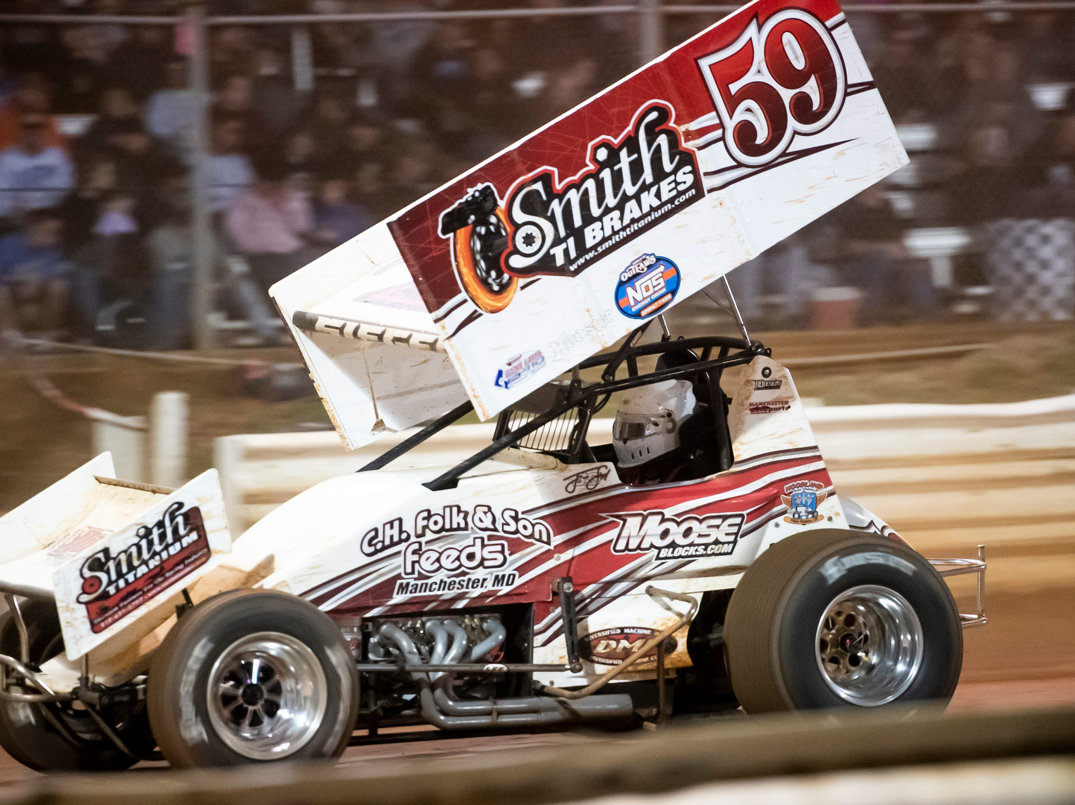 Jim Siegel races in the number 59 car during the World of Outlaws Gettysburg Clash at Lincoln Speedway in Abbottstown on Wednesday, May 15, 2019.